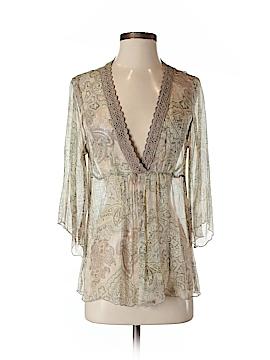 Gold Hawk 3/4 Sleeve Silk Top Size S