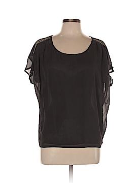 Line & Dot Short Sleeve Silk Top Size L