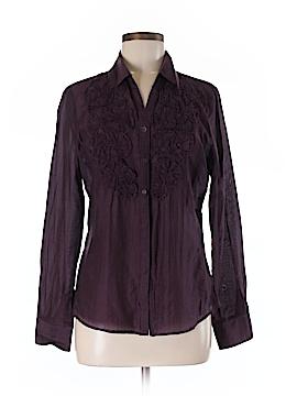 Ecru Long Sleeve Button-Down Shirt Size M
