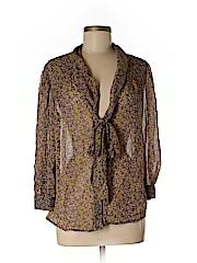 Hinge Women 3/4 Sleeve Silk Top Size M