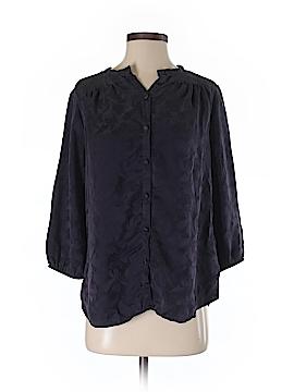 Velvet 3/4 Sleeve Silk Top Size S