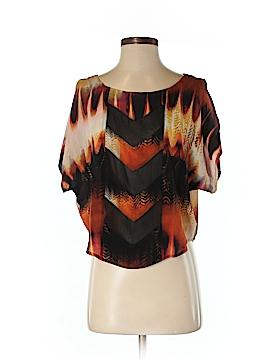 Line & Dot Short Sleeve Silk Top Size XS
