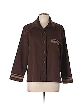 BonWorth Long Sleeve Button-Down Shirt Size L (Petite)