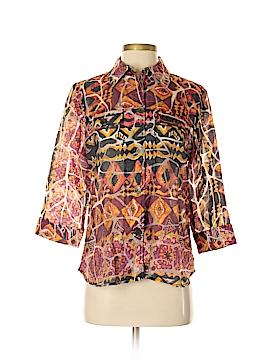 Draper's & Damon's 3/4 Sleeve Button-Down Shirt Size S