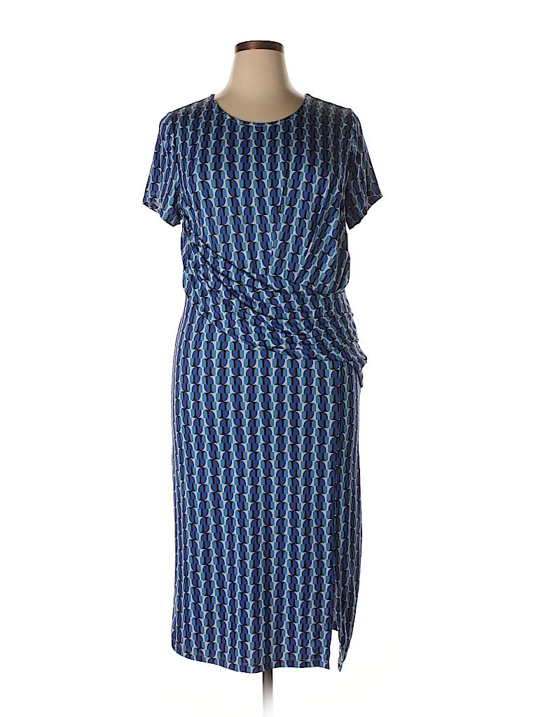 7e6c3b501ba ELOQUII 100% Polyester Print Blue Casual Dress Size 16 (Plus) - 76 ...