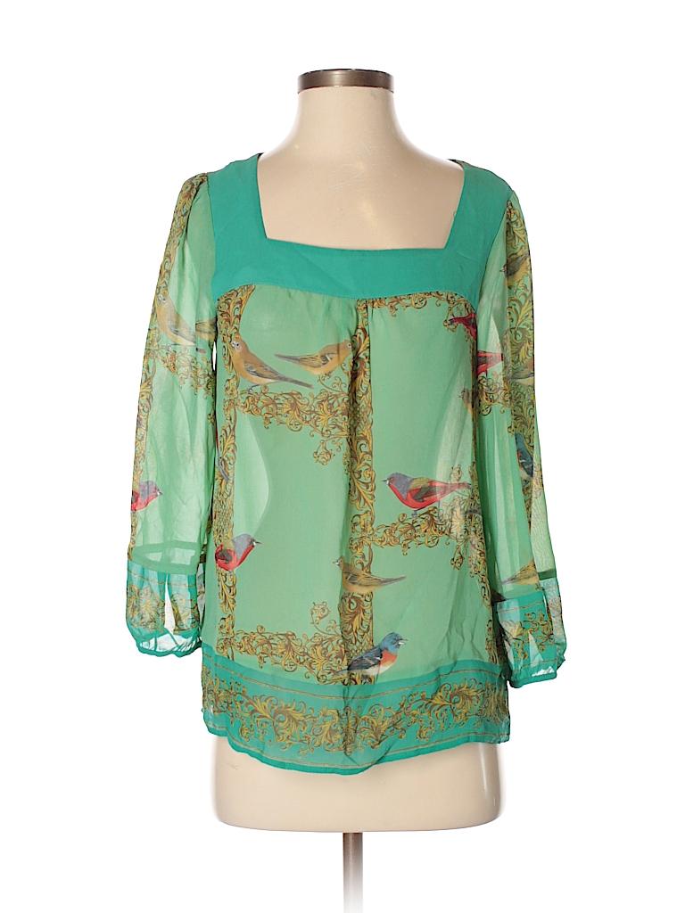 Vanessa Virginia 100 Silk Print Green 3 4 Sleeve Blouse Size 87 Pin It Women