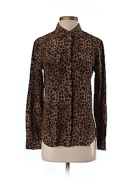 Garnet Hill Long Sleeve Silk Top Size 2