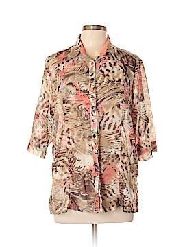 TanJay 3/4 Sleeve Button-Down Shirt Size 12 (Petite)