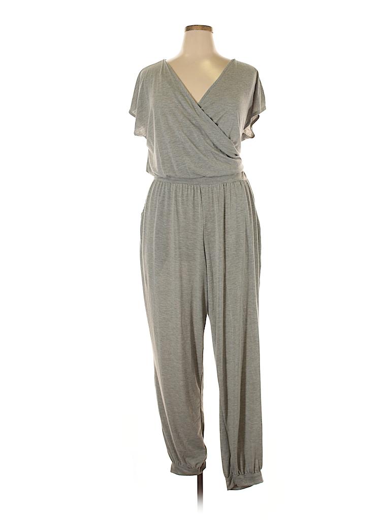 307320c5cd5 Derek Heart Solid Gray Jumpsuit Size 2X (Plus) - 73% off