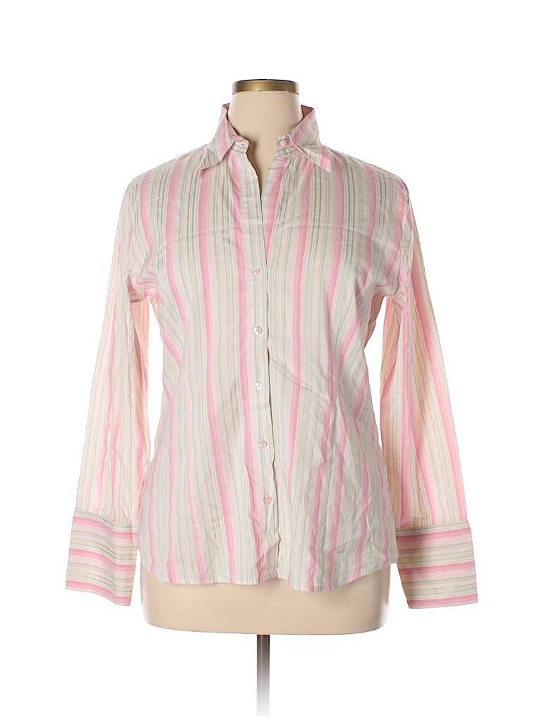 b0217f6b New York & Company Stripes Pink Long Sleeve Button-Down Shirt Size ...