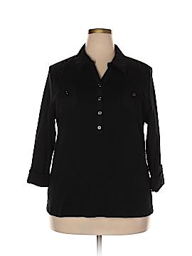 Karen Scott Long Sleeve Polo Size 2X (Plus)