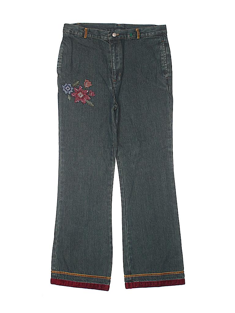 290f26e4daff8 T.J. Maxx 100% Cotton Floral Stripes Dark Blue Jeans Size 8 - 70 ...