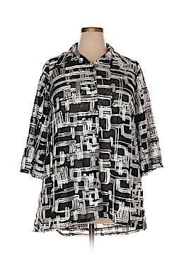 JM Collection 3/4 Sleeve Button-Down Shirt Size 1X (Plus)
