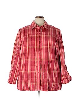 JM Collection Long Sleeve Button-Down Shirt Size 22W (Plus)