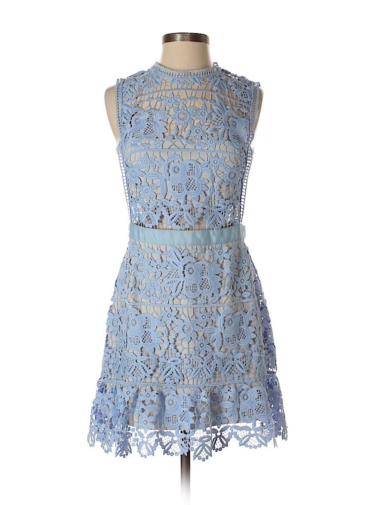 938b86a466c0 Self-Portrait 100% Polyester Crochet Light Blue Cocktail Dress Size ...