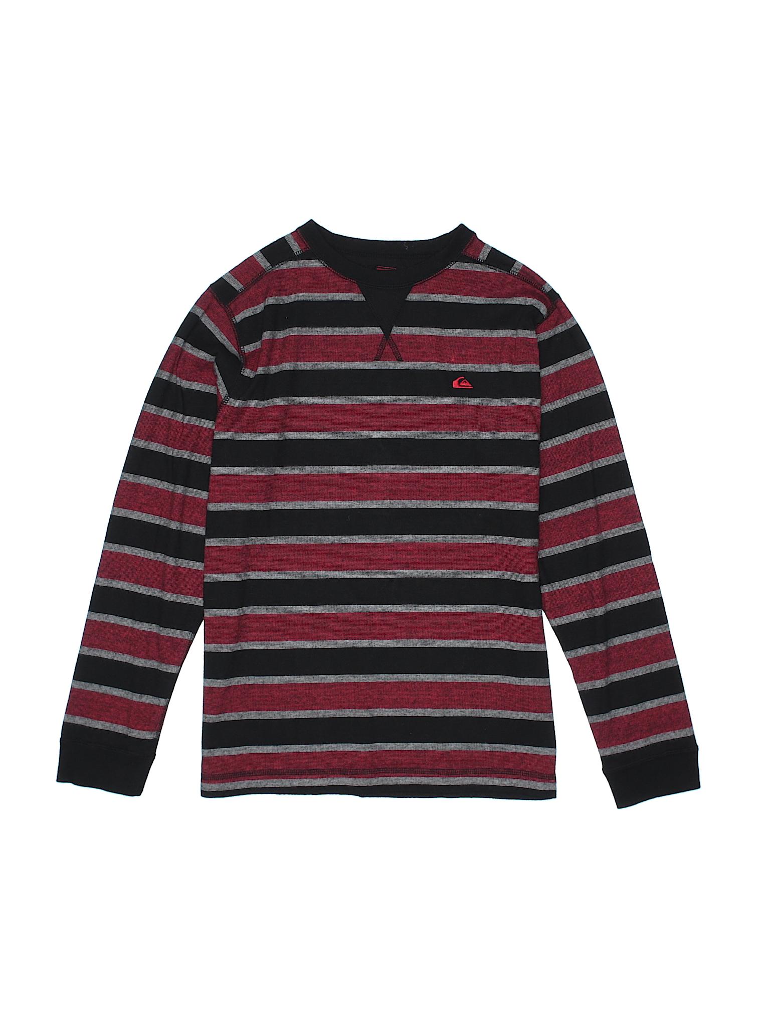 Quiksilver stripes burgundy long sleeve t shirt size x for Bureau quiksilver