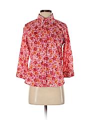 Caribbean Joe Women 3/4 Sleeve Button-Down Shirt Size S (Petite)