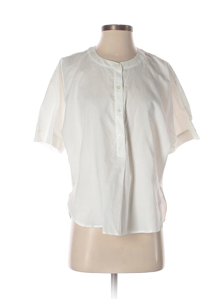 7099b79544d96 Ann Taylor LOFT 100% Cotton Solid White Short Sleeve Button-Down ...
