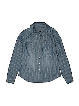 Iris Basic Long Sleeve Button-Down Shirt Size S