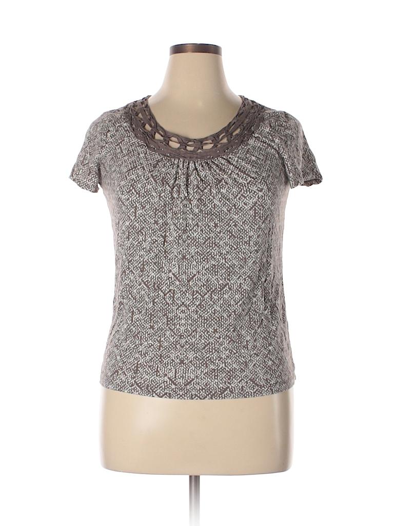 St john 39 s bay print brown short sleeve t shirt size l for South bay t shirt printing