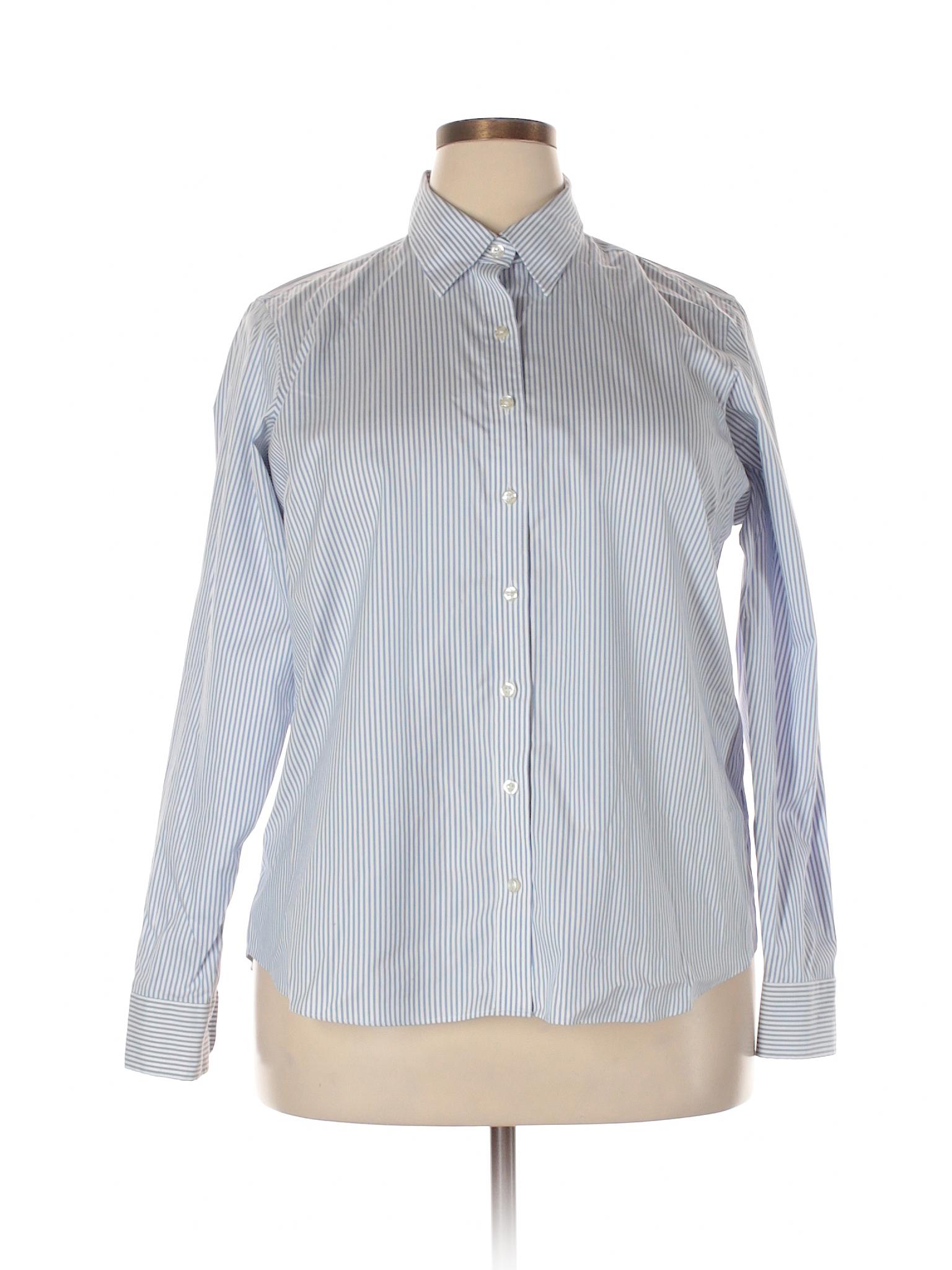 Lands 39 end 100 cotton stripes light blue long sleeve for Lands end logo shirts