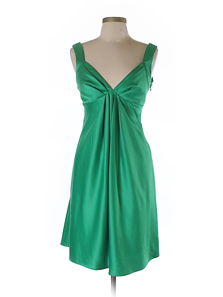 Calvin Klein 100% Polyester Solid Dark Green Casual Dress Size 10 ...
