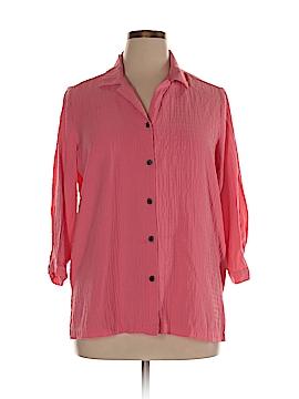 White Stag 3/4 Sleeve Button-Down Shirt Size 1X (Plus)