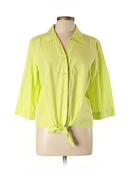 Christopher & Banks 3/4 Sleeve Button-Down Shirt Size L (Petite)