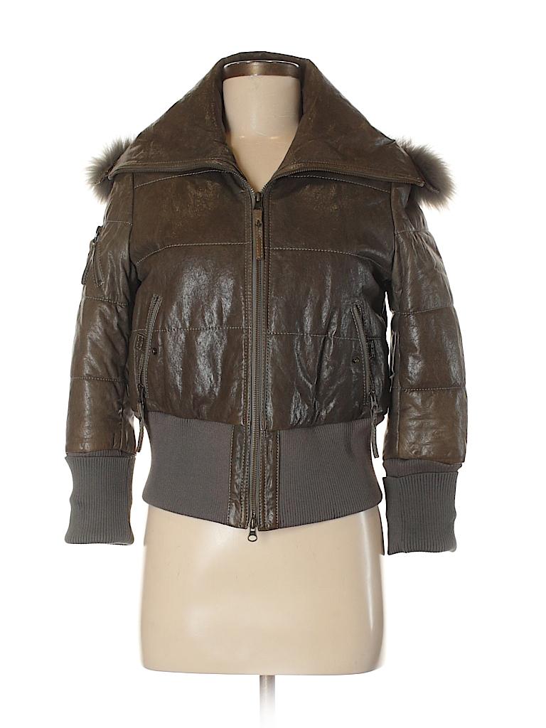Modern Vintage 100 Lambskin Solid Dark Green Leather Jacket Size M