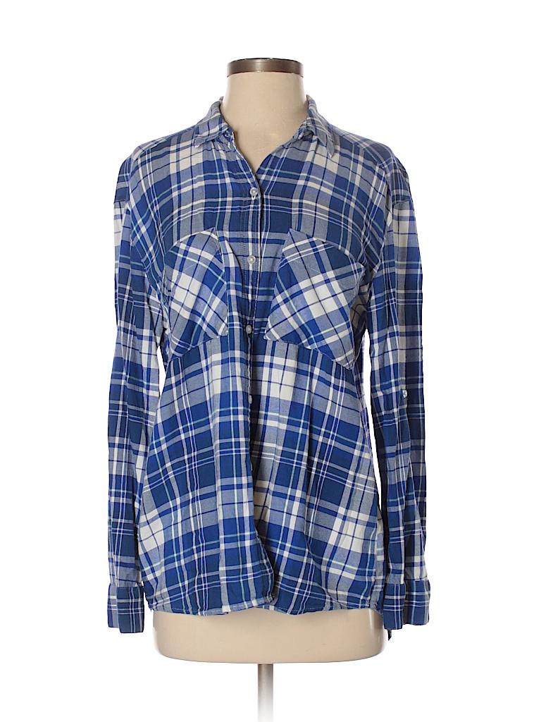 eefc6a8a397257 Express Plaid Blue Long Sleeve Button-Down Shirt Size S (Petite ...