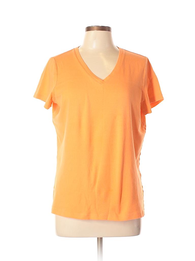 St John 39 S Bay 100 Cotton Solid Orange Short Sleeve T