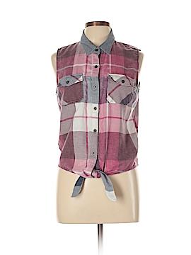 Black Poppy Sleeveless Button-Down Shirt Size L