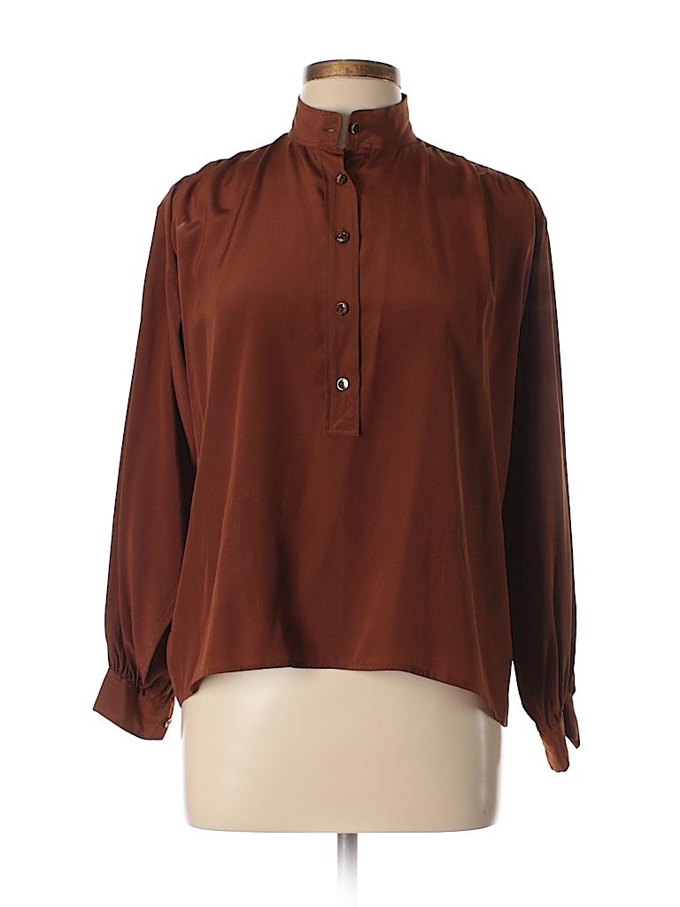 Yves saint laurent rive gauche 100 silk brown long sleeve for Bureau yves saint laurent