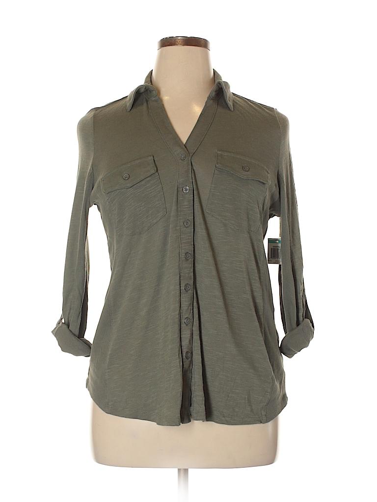 INC International Concepts Women Long Sleeve Button-Down Shirt Size 0X (Plus)