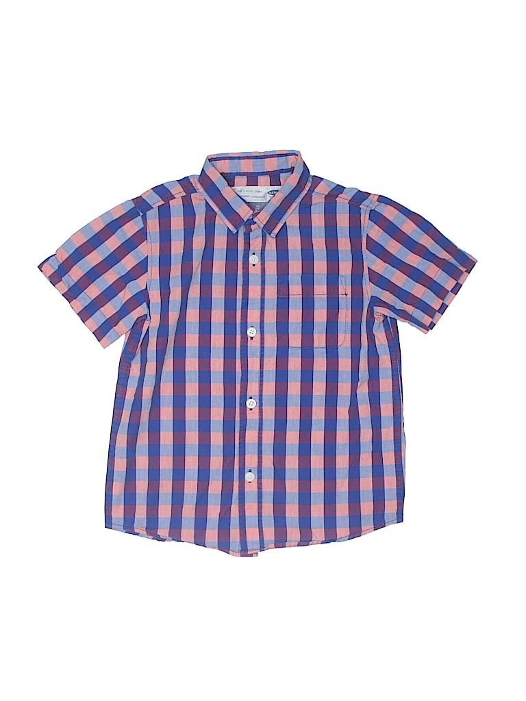 Old Navy 100 Cotton Checkered Gingham Dark Purple Short Sleeve