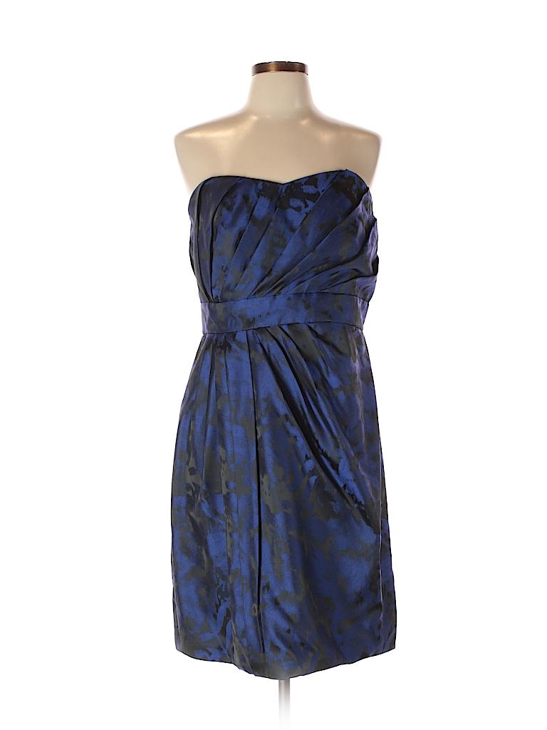 Theia 100% Polyester Print Dark Blue Cocktail Dress Size 12 - 81 ...
