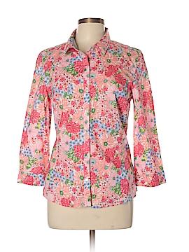 Garnet Hill 3/4 Sleeve Button-Down Shirt Size 10