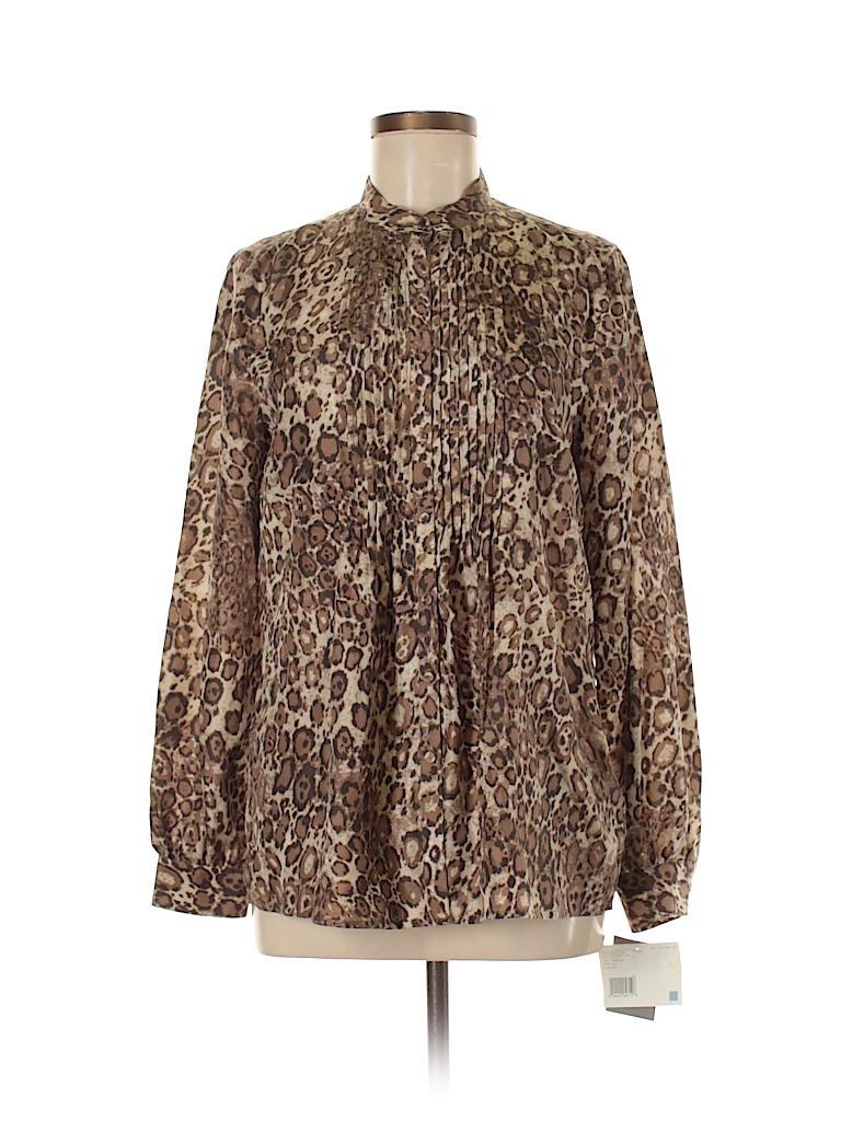 887f98c5bbff87 Liz Claiborne 100% Silk Animal Print Tan Long Sleeve Silk Top Size M ...