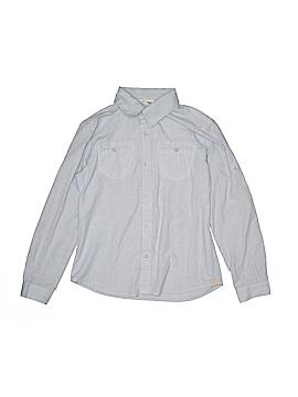 White Sierra Long Sleeve Button-Down Shirt Size M (Kids)