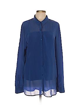 Trouve Long Sleeve Silk Top Size L
