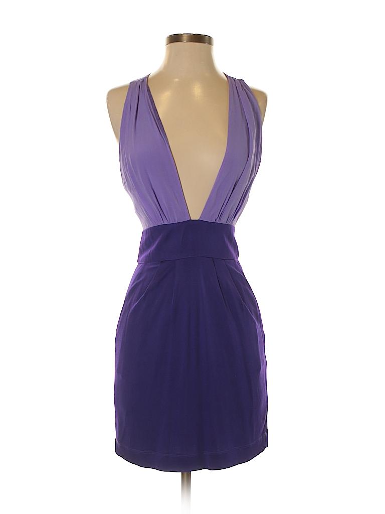 Bebe 100% Silk Color Block Dark Purple Cocktail Dress Size S - 75 ...