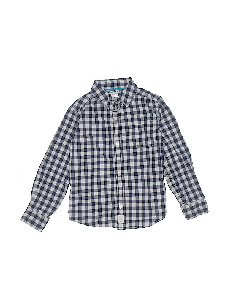 7b082b09 Carter's 100% Cotton Checkered Gingham Dark Blue Long Sleeve Button ...