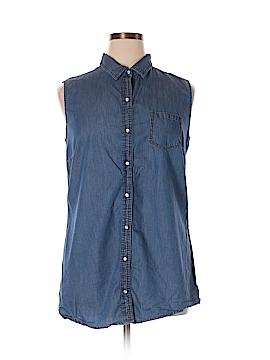 Charming Charlie Sleeveless Button-Down Shirt Size XL