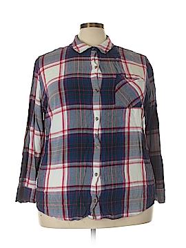 Ava & Viv 3/4 Sleeve Button-Down Shirt Size 4X (Plus)