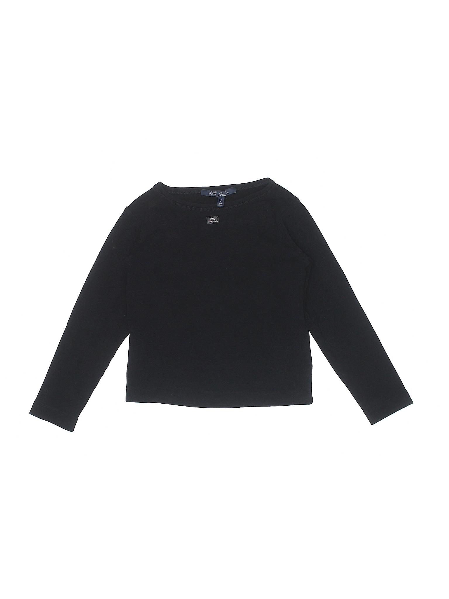 3fb44f983c60 Lili Gaufrette Solid Black Long Sleeve T-Shirt Size 6 - 95% off ...