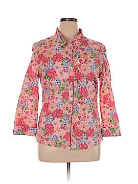 Garnet Hill 3/4 Sleeve Button-Down Shirt Size 14