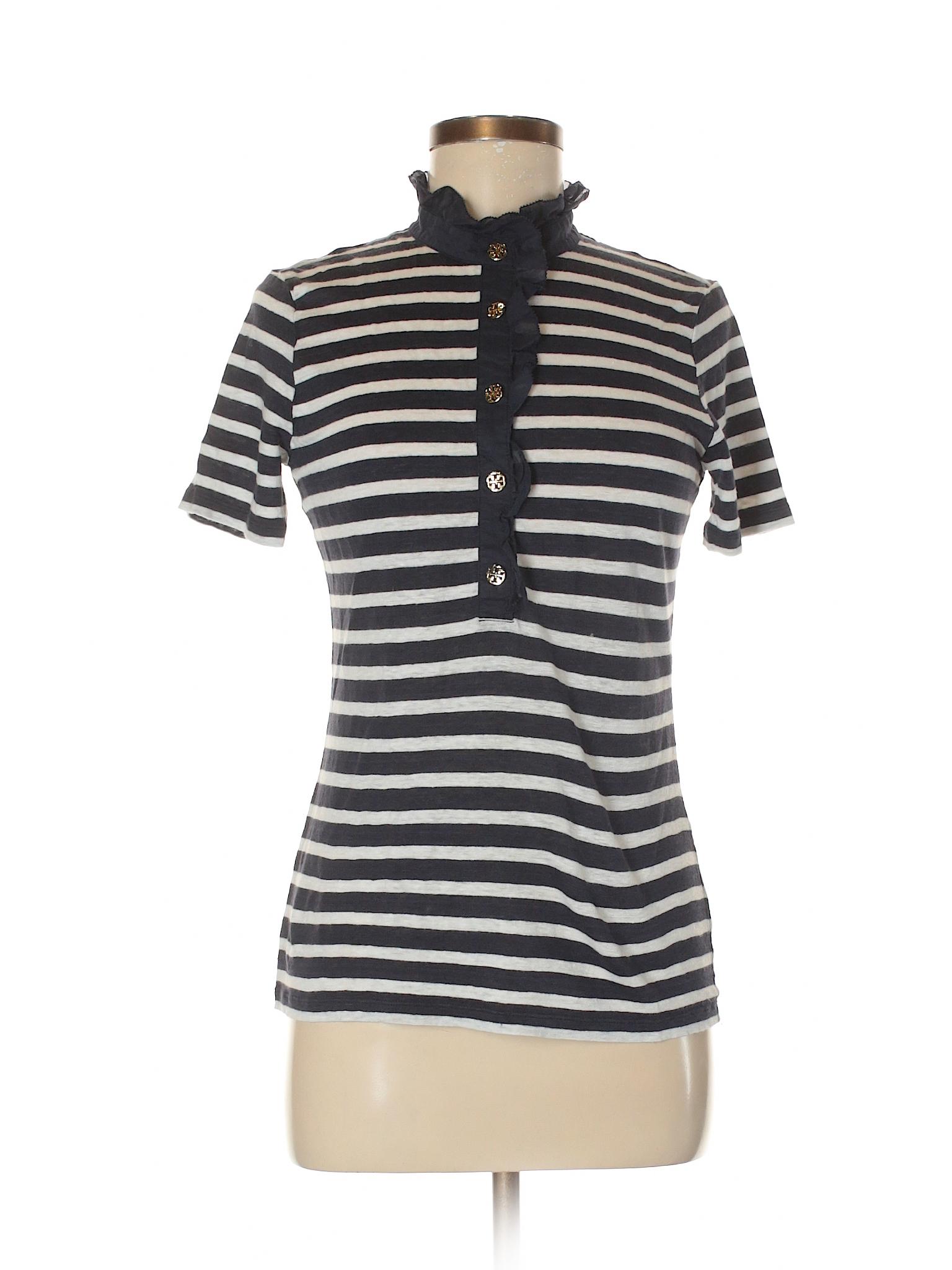 Tory burch 100 linen stripes navy blue short sleeve for Tory burch button down shirt