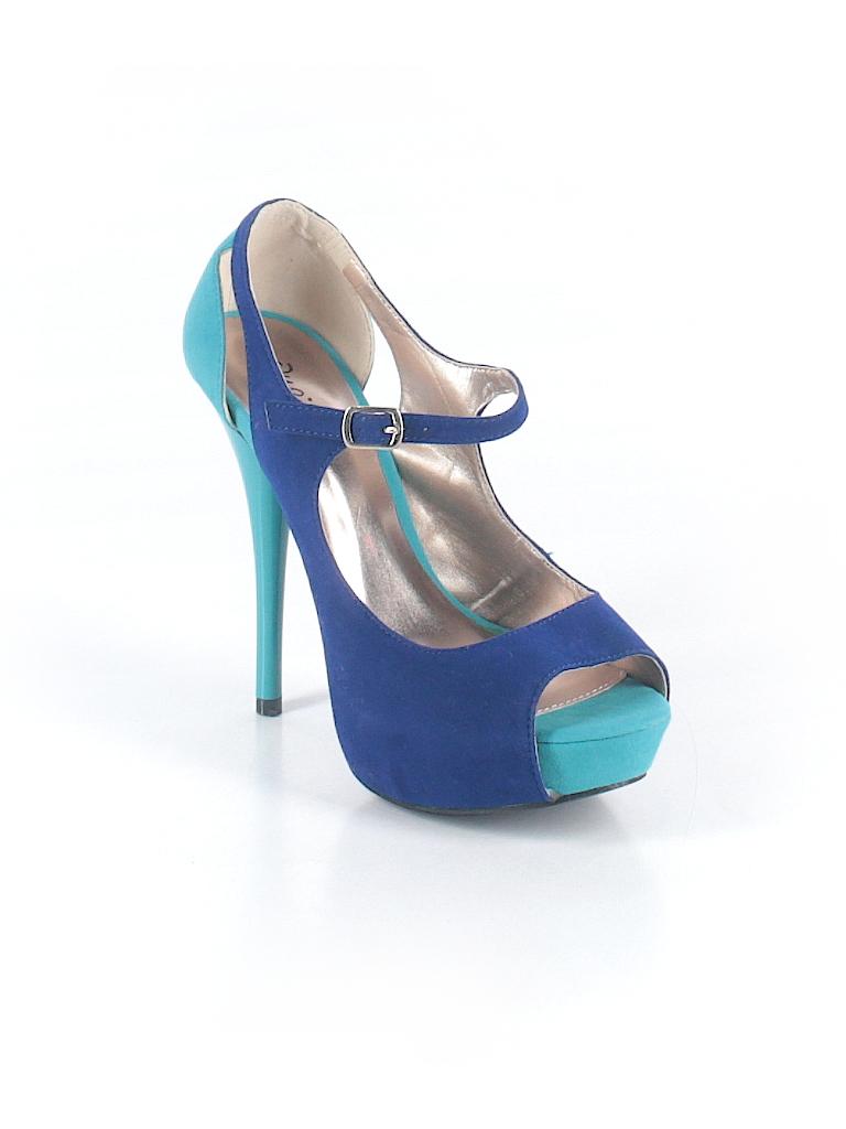 044f22e3da Qupid Color Block Dark Blue Heels Size 8 - 73% off | thredUP
