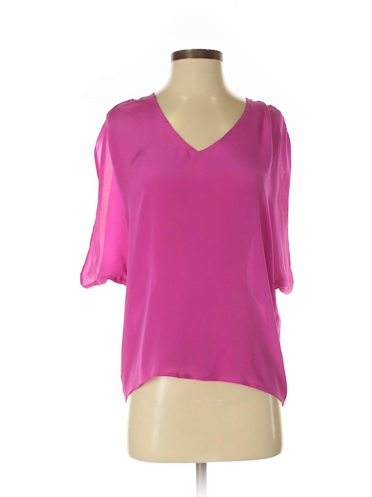 S.Y.L.K. Women Short Sleeve Silk Top Size S