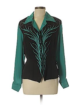 Bob Mackie Long Sleeve Silk Top Size M